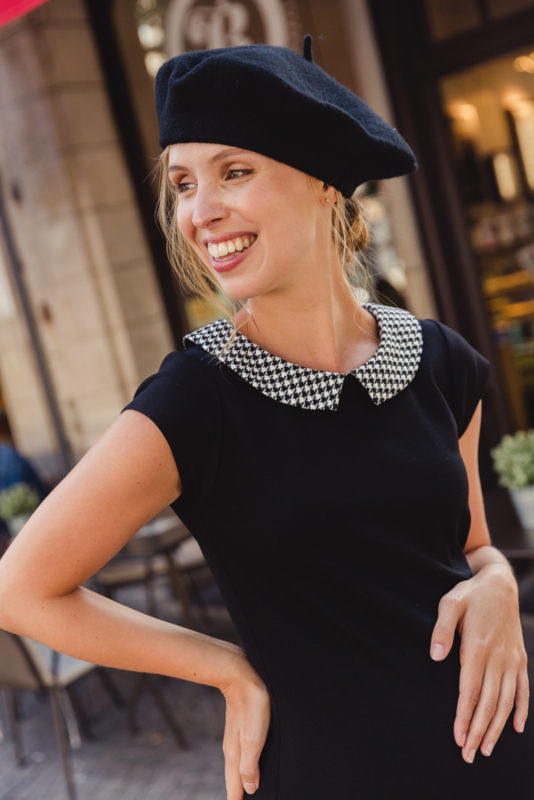 ANNABELLE DRESS  BLACK met PIED DE POULE KRAAGJE