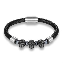 Lederen skull armband