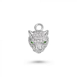 Mi Moneda Monogram charm Leopard Silver