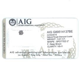 AIG ruwe diamant - 0.81 ct - ruw kristal slijpsel