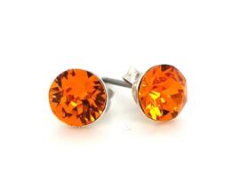 Occasion edelstalen oorbellen met oranje zirkonia