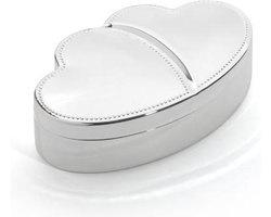 Zilverstad sieradendoos parelrand hartvorm thema liefde cadeau huwelijk bruiloft trouwerij huwelijkscadeau huwelijkskado
