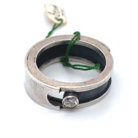 Occasion handgemaakte ring, deels geoxideerd met zirkonia