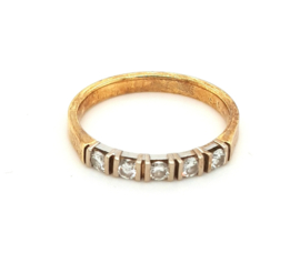 Occasion gouden rij ring met 5 diamanten, 0.35ct VSI F
