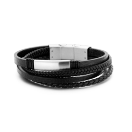 Black leather multi-layer bracelet with stainles steel closure