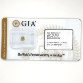 GIA diamant - 0.40 ct. - gemengd kussen slijpsel - Yellow