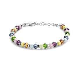 Armband 6,0 mm 18 + 2,5 cm kleurstenen