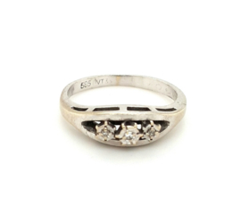 Occasion witgouden rij ring met 3 diamanten 0.05ct SI F