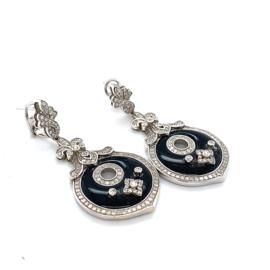 Occasion witgouden elegante oorbellen onyx en briljant 1.09ct