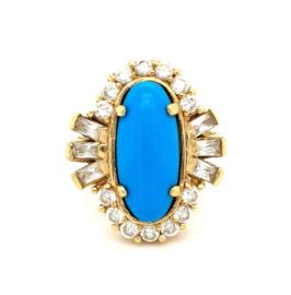 Occasion gouden ring met turkoois edelsteen en zirkonia's