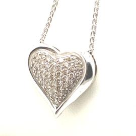 Occasion witgouden hart hanger met diamant 0.50ct SI-F