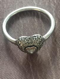 occasion zilveren ring met hart