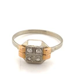 Occasion bicolor gouden facet ring met achtkant diamantjes