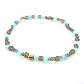Cataleya armband met rookkwarts, amazoniet, labradoriet en goud