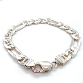 Massieve zilveren grove figaro armband