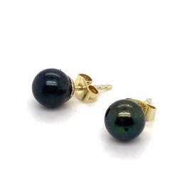 Occasion parel oorbellen 8mm met goud