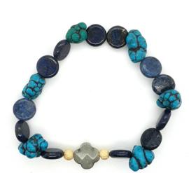Cataleya armband met labradoriet, lapis lazuli, turkoois en goud