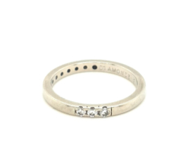 Occasion Diamonde witgouden rij ring met 3 diamanten 0.09ct SI F