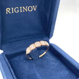 Roségouden sierlijke ring met diamant 0.75ct