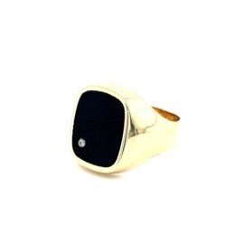 Geelgouden zegelring met onyx en briljant