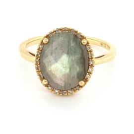 Occasion ring met grijze labradoriet en diamantjes