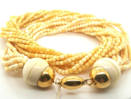 Occasion antiek 10-snoerig ivoor collier