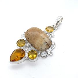 Zilveren hanger met jaspis en citrien edelstenen