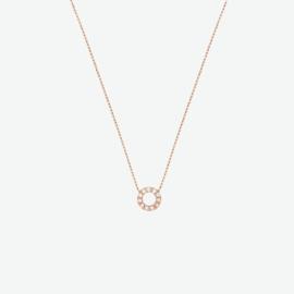 collier rondje zirkonia 40 - 44 cm rosegoud