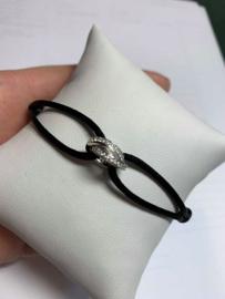 Zijde zilveren armband met Zirkonia