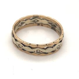 Occasion bicolor gouden gefacetteerde ring