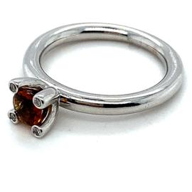 Occasion witgouden ring van Bron met citrien en diamant 0.06ct