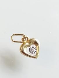 Occasion gouden hart hangertje met diamantje 0.008ct