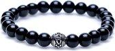 Karma Black Onyx Silver Cilinder Logo Bead Armband - Zwart