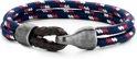 Frank 1967 Nautical Ropes 7FB 0270 Geweven Armband met Stalen Element - Lengte 21 cm - Blauw