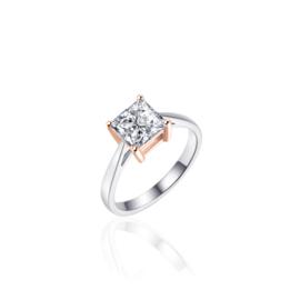 AG925 Zilveren dames solitair ring met rosé
