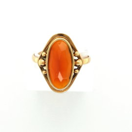 Ring Chalcedoon facet geslepen
