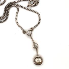 Occasion collier met 3 briljant geslepen diamanten 0.52ct