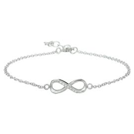 Zilveren armband infinity zirkonia 1,0 mm 15,5 + 2,5 cm