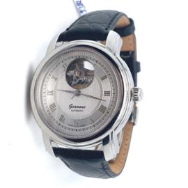 Occasion nieuw Garonne herenpols horloge automaat met zwarte lederen band