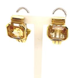 Occasion klap oorstekers met citrien en diamant 0.048ct