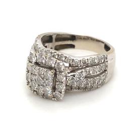 Occasion witgouden ring met pavé gezette diamanten ca 1.50ct VSI-F