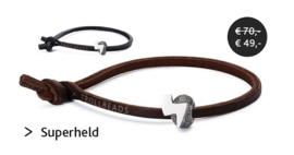 Superheld armband - leer zwart TB-LB04