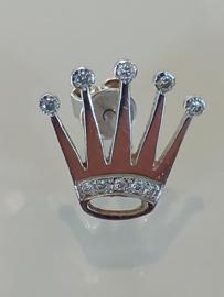 Occasion witgouden Kroon oorbel met diamant 0.10ct