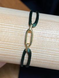 Goud op zilver/ru/ny armbanden dames en heren poli/fantasie - groen