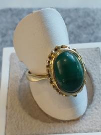 Occasion gouden ring met malachiet