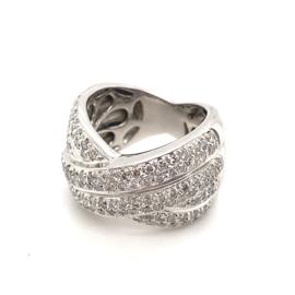 Occasion witgouden gekruiste ring pavé gezet diamant 1.2ct VVSI-H