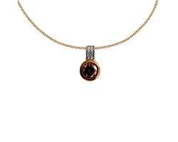 Diamonfire - Zilveren collier met hanger 45 cm - Rosegoudverguld Kastzetting - Bruine steen