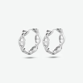 Zilveren klapoorringen schakelmotief