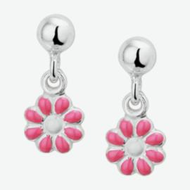 Zilveren oorhangers bloem