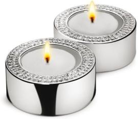 Zilverstad Silver Diamond Waxinehouder - Set van 2